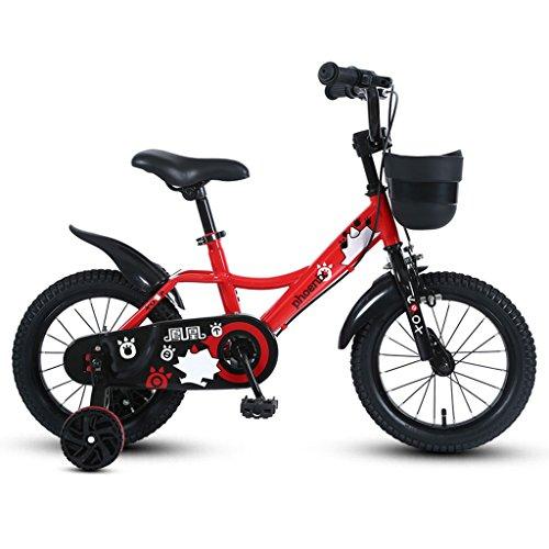 GLJJQMY Biciclette for Bambini 3-5-7-9 Anni Ragazzi Ciclismo 14/16/18 Pollici Bambini Biciclette A Tre Ruote Mountain Bike Rosso (Size : 14 Inches)