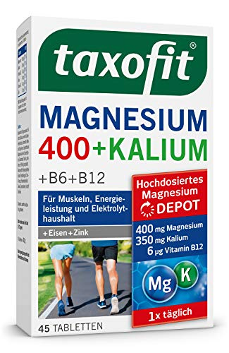 taxofit® Magnesium 400 + Kalium Tabletten   für Energisleistung, Muskeln & Elektrolythaushalt   45 Tabletten   PZN: 10793160