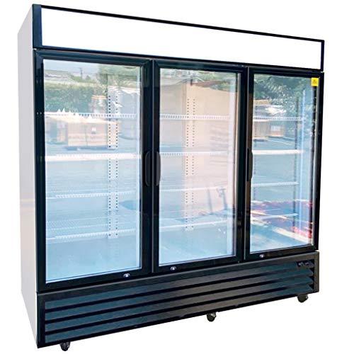 Commercial Refrigerator Glass 3-door Sliding NSF Merchandiser Beverage Display Cooler Reach In Fridge Upright, Capacity 56 cuft, 72' Width 110V GDM-69Bdup