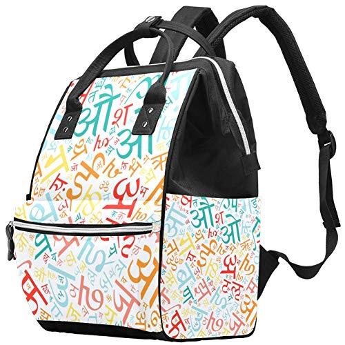 Hindi Alphabet Windel Wickeltasche Windelrucksack mit isolierten Taschen Kinderwagengurte, große Kapazität Multifunktionale stilvolle Wickeltasche für Mama Papa im Freien