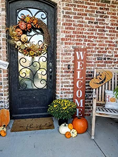 Fall Welcome Sign For Front Porch Made With Real Rustic Reclaimed Wood 5 Feet Tall Fixer Upper Farmhouse Barn Wood Style Autumn Orange