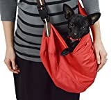 Red Pet Sling Carrier With Shoulder Pad for Small To Medium Dog- Cloth Totes and Carriers By Cozy Courier -Size Medium Pet Carrier
