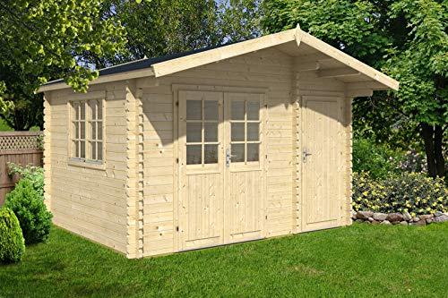 Alpholz Gartenhaus Ville-44 B aus Massiv-Holz | Gerätehaus mit 44 mm Wandstärke | Garten Holzhaus inklusive Montagematerial | Geräteschuppen Größe: 410 x 320 cm | Satteldach