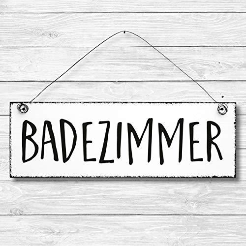 Badezimmer - Dekoschild Türschild Wandschild aus Holz 10x30cm - Holzdeko Holzbild Deko Schild