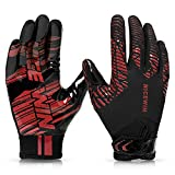 NICEWIN Football Gloves Adult Football Receiver Gloves for Men and Women Red1-Small-Adult