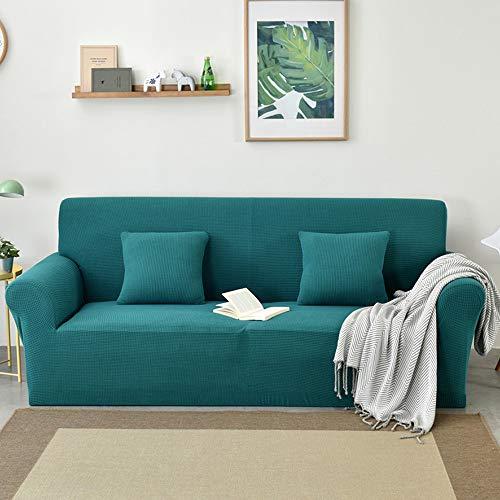 BingBing Sofá de color puro Covers estiramiento Sofá cubierta elástica completo cubierto Sofá Fundas Spandex Muebles protector para 4 Plazas Azul