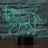 3D Illusion Los Lobos Lámpara luces de la noche ajustable 7 colores LED Creative Interruptor...