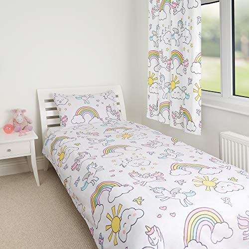 Zappi Co Unicorn Kids Single Bed Set Childrens Reversible Duvet With Matching Pillowcase Bedding Set Girls Cover