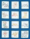 Jack Dempsey Stamped White Nursery Quilt Blocks 9'X9' 12/Pkg, Puppies