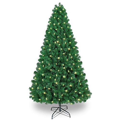 SHareconn 7.5ft Pre-lit Premium Artificial Hinged Christmas Tree, Xmas Tree with 470 Warm Lights, 1600 Branches & Metal Stand
