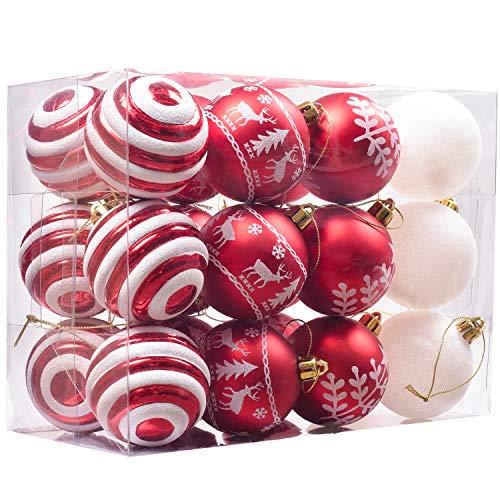 24 Piezas Bolas de Navidad de 6cm, Adornos Navideños para Arbol, Decoración de Bolas de Navidad Inastillable Plástico de Rojo y Blanco, Regalos de Colgantes de Navidad (Tradicional)