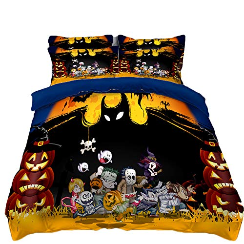 QXbecky Halloween 3D Printing and Dyeing Quilt Cover Pillowcase 3 Piece Set Zombie Pumpkin Black and White Single Bed Sheet Skull