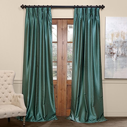 HPD Half Price Drapes PDCH-KBS14BO-96-FP Blackout Vintage Textured Faux Dupioni Pleated Curtain (1 Panel), 25 X 96, Peacock