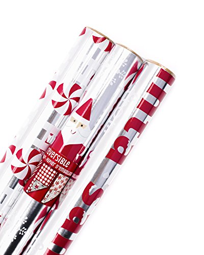 Hallmark Christmas Wrapping Paper, Red and Silver Foil (Pack of 3, 60 sq. ft. ttl.) Santa, Stripes, Bells, Peppermints, Ho Ho Ho
