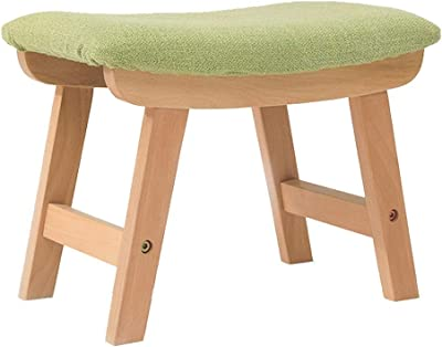 Ottomans Footstools Solid Wood Fabric Stool Home Low Stool Green Small Bench Two-Story Stair Stool (Size : L 38.5 cm*w 25.5 cm*h 29 cm)