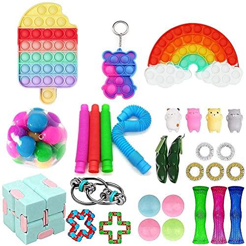 Freshwater Fidget Pack 30PCS, Fidget Toy Set, Sensory Toys,Fidget Toys Push Pop Bubble Rainbow Color, Simple Keychain Fidget Toy, Marble Mesh Fidget Toy, Carnival Prizes, Goodie Bag Fillers