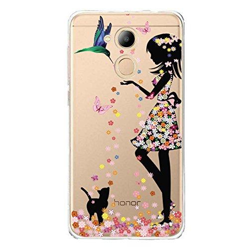 IJIA Hülle für Honor 6C Pro/Honor V9 Play Transparente Marmormuster Natürliche Elfenbein Weiß TPU Weich Silikon Handyhülle Schutzhülle Hülle Tasche für Huawei Honor 6C Pro/Honor V9 Play (5.2