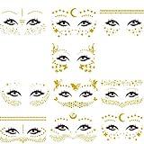 Tatuajes Temporales Cara, 10 Piezas Tatuajes de Cara y Ojos Temporales Metálicos. Pegatinas de Maquillaje a Prueba de Agua para Mujeres en el Festival y en el Escenario-Dorados