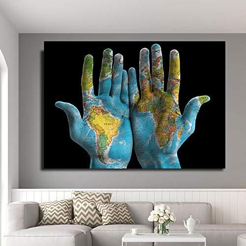 Mapa del Mundo en la Mano Pintura de la Lona Graffiti Art Poster Wall Art Living Room Office decoración Imagen 60x90 Sin Marco