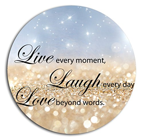 BOSLIVE Gaming Mouse Pad Life Quotes Live Laugh Love Blue Background Office Desktop Rubber Non-slip Round Mouse Mat 7.87'x7.87'