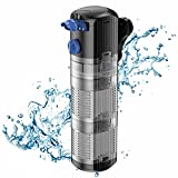 FREESEA Internal Aquarium Power Filter: 8W Adjustable Water Flow 2 Stages Filtration System Submersible for 40-120 Gal Fish Tank | Turtle Tank …