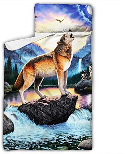 Howl at The Moon Kids Toddler Nap Mat with Pillow - Includes Pillow & Fleece Blanket for Boys and Girls Napping at Daycare, Preschool, Or Kindergarten