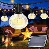 Guirnaldas Luces Exterior Solar Impermeable 7,62m con 25 G40 Globo Bombillas LED Guirnalda Luminosas 4 Modos Luces Decorativas Panel Solar Recargable para Jardines, Casas, Boda, Fiesta(Blanco Cálido)