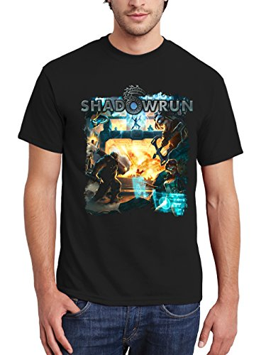 clothinx Herren T-Shirt Shadowrun Assault Team Schwarz Gr. XL