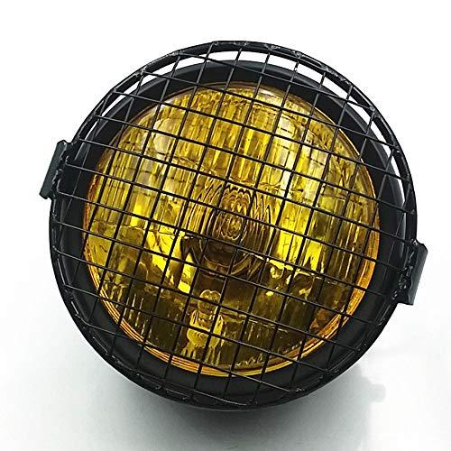 Grill Vintage Moto Side Mount Lampe frontale Lampe frontale pour Café Racer Bobber Cruiser CB GN 125 XL Personnalisé (Noir/Ambre)