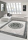 Traum Moderner Teppich Designer Teppich Orientteppich mit Glitzergarn Wohnzimmer Teppich mit Bordüre & Kreismuster in Grau Anthrazit Creme Größe 80x150 cm