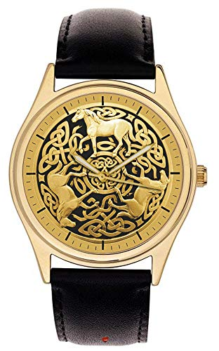 Golden Celtic Horses Gaelic Art Parchment DIAL Collectible 40 mm Wrist Watch in Solid Brass