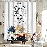 Sword Art Online Sao Cortinas de ducha para baño Decoración Anime Madness Anime Asuna & Kirito 54X62 pulgadas