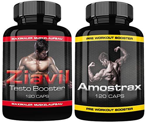 Ziavil und Amostrax By VargPower | 240 Kapseln | Kombipaket | Verbesserter Formel | Testo Pre Workout Booster Paket | Für Männer