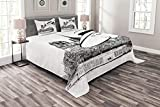 Ambesonne Notre Dame Bedspread, Sketchy Artwork of a Young French Woman with Architectural Background, Decorative Quilted 3 Piece Coverlet Set with 2 Pillow Shams, Queen Size, Charcoal Grey White