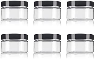 ericotry 6pcs 250ml Empty Plastic Bottles Box Containers with Black Lid for Scrubs Oils Salves Creams Lotions Makeup Cosme...