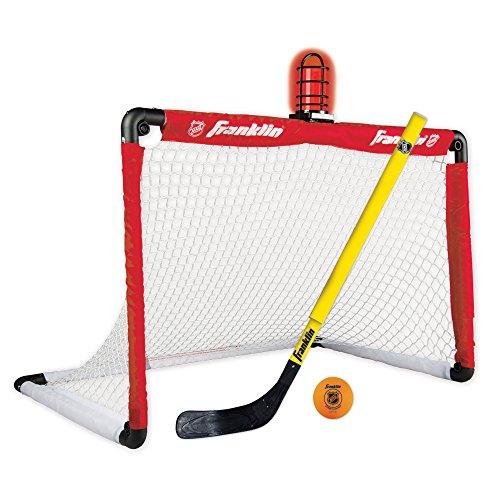 Franklin Sports Mini Hockey Goal Set - NHL Light Up Knee Hockey Goal and Stick Set with Hockey Ball - Perfect for Indoor Floor Hockey and Knee Hockey