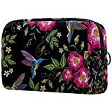 Bolsa de cosméticos para mujer, colibrio y rosas silvestres con patrón de flores de Dogrose, bolsas de maquillaje, accesorios organizador de regalos