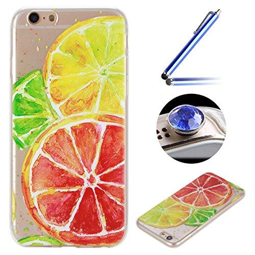 Etsue Doux Protecteur Coque pour iPhone 6/6S,TPU Matériau Frame est Transparent Soft Cover pour iPhone 6/6S,Coloré Motif par Dessin de Mode Case Coque pour iPhone 6/6S + 1 x Bleu stylet + 1 x Bling poussière plug (couleurs aléatoires)-Citron
