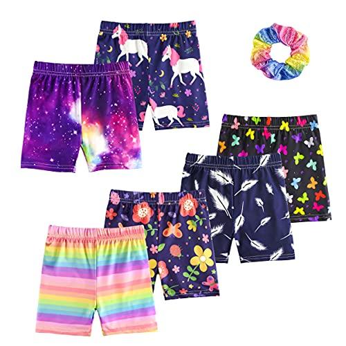 KeeFsion 6 Packs Girls Shorts Color Dance Shorts Girls Safety Short Atmungsaktive Bike Short für Mädchen Bedruckte Dance Shorts Colourful Yoga Short Pant -A-130