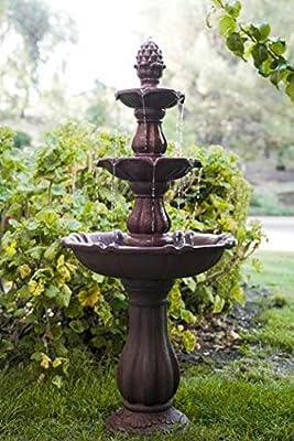 XBrand FT973615 3-Tier Freestanding Cascading Waterfall Fountain, Outdoor Garden Yard, Lawn, Porch Décor, 52 Inch Tall, Brown