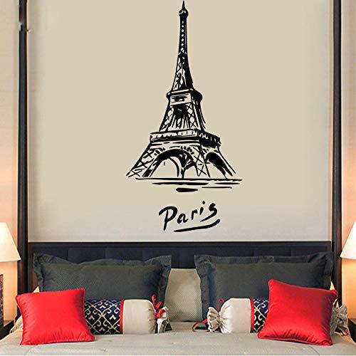 Papel pintado de vinilo autoadhesivo moderno, pegatinas de pared para bebé de Torre Eiffel, decoración de pared para niños, papel tapiz impermeable L 71x140cm