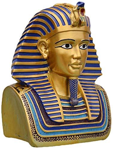 Escultura,Busto De Tutankamón con Adorno De Ian con Figura Dorada, Réplica De Escultura, Estatua Decorativa De Resina Vintage, Estatuilla para Decoración del Jardín Y del Hogar