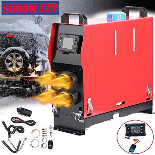Triclicks Calefacción de aire diésel de 12 V y 8 kW, 4 orificios, calefactor de estacionamiento, calefactor con pantalla LCD, calefacción rápida, para remolques, camiones, barcos, caravanas, turismos