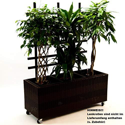 Elegant Einrichten Pflanzkübel, Pflanztrog Polyrattan mit Rankgitter 82x30x100cm Coffee braun