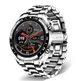 ZYMQ Smart Watch Hombres Pantalla táctil Completa Deportes Fitness Watch IP68 Bluetooth Impermeable para Android iOS Smart Watch Mens,Plata