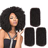 FASHION IDOL 3 Packs Afro Kinkys Bulk Human Hair (12'/12'/12', Natural Color) - Afro Braiding Hair Extensions Curly Brazilian Hair - Afro Bulk Braiding Hair for Dreadlocks - Afro Twist Braiding Hair