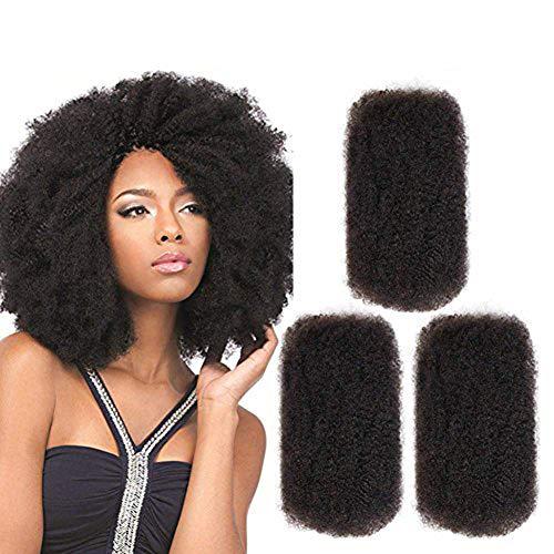 FASHION IDOL 3 Packs Afro Kinkys Bulk Human Hair (10'/10'/10', Natural...