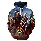 yyqx container Unisex realistische 3D-Mode Pullover Set Zweiteilige Hoodie Kapuzenpullover Halloween Ablösung 3D Hoodie, XXXL