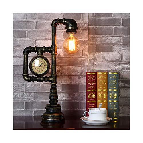 WYZ tafellamp Amerikaanse creatieve industriële waterpijp retro koperen klok tafellamp study slaapkamer bedlampje café bar decoratieve lamp tafellamp