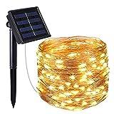 Luces solares de cadena, luces LED de alambre de cobre, luces de hadas, luces solares impermeables para jardín (10M)